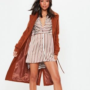Womens NEW White Rust Satin Striped Blouse Dress 6